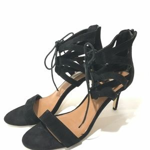 Steve Madden Black Lace Up Heel Suede Ankle